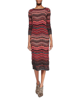 Fancy Ripple-Knit Mid-Calf Dress