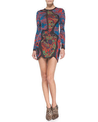 Long-Sleeve Swirl Jacquard Dress