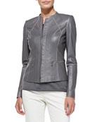 Contrast-Stitch Leather Jacket