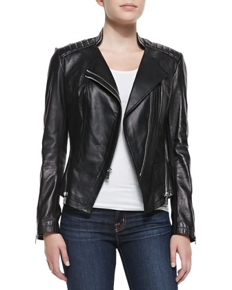 Quin Leather Double-Zip Jacket