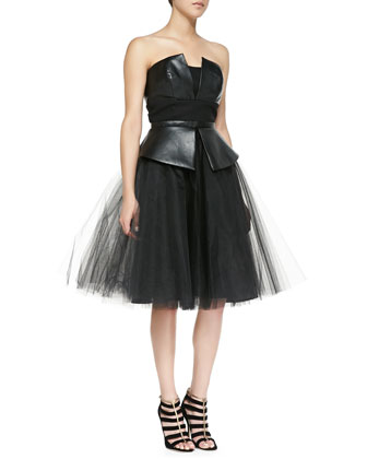 Leda Leather/Tulle Strapless Dress