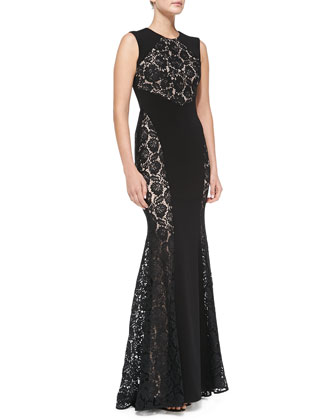 Stella Lace-Panel Mermaid Gown