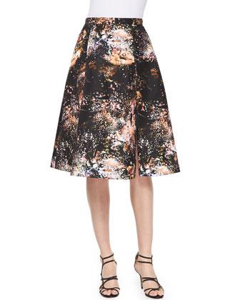Vivian Galaxy-Print Sateen Skirt