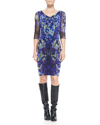 3/4-Sleeve Floral Sheath Dress