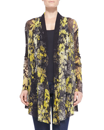 Open-Front Floral-Print Cardigan
