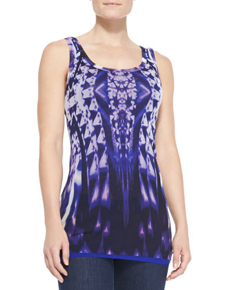 Ikat-Print Tulle Tank Top, Purple