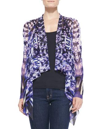 Ikat-Print Cascading Ruffle-Front Cardigan
