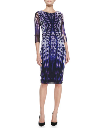 3/4-Sleeve Ikat-Print Midi Sheath Dress