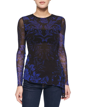 Long-Sleeve Floral Lace-Print Top