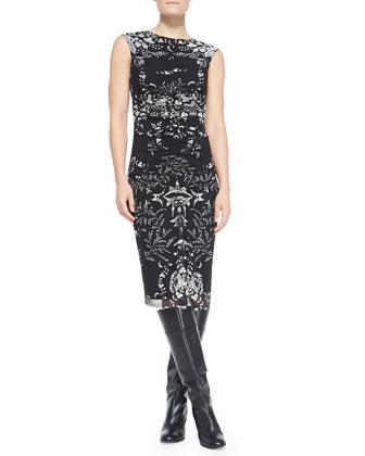 Sleeveless Printed Midi Sheath Dress