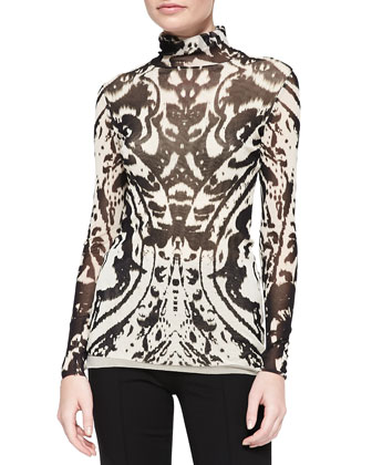 Long-Sleeve Printed Turtleneck Top