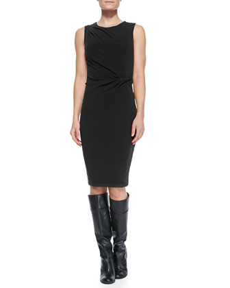 Sleeveless Dress with Pleated & Twisting Detail on Bodice