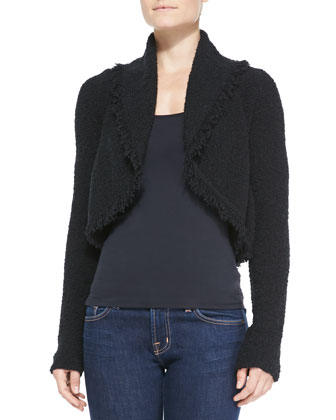 Cropped Open-Front Cardigan with Fringe Trim, Black