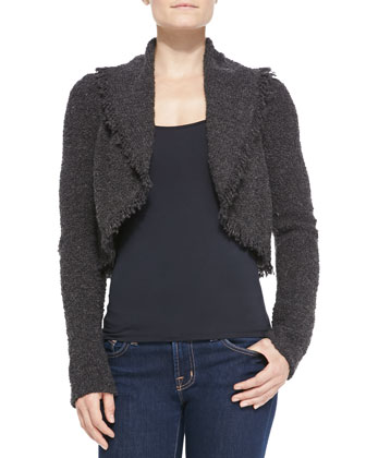 Cropped Open-Front Cardigan with Fringe Trim, Gray