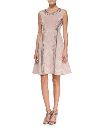 Jaclyn Textured Chain-Trim Dress