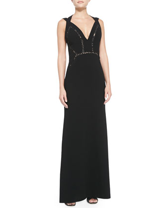 Penelope Lace-Inset Halter Gown