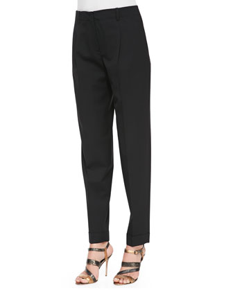 Pleated Stretch-Twill Pants