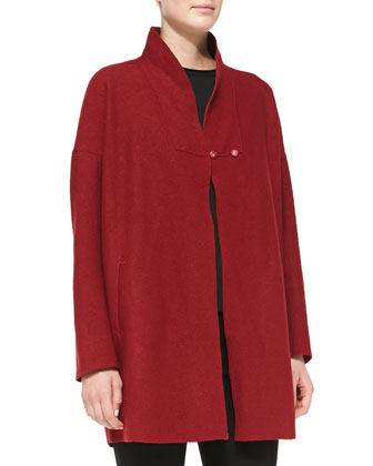 Jacqueline Stand-Collar Wool Swing Coat