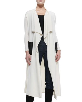 Ashley Felt Duster with Leather Pockets