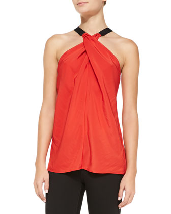 Lisa Cross-Neck Satin Top