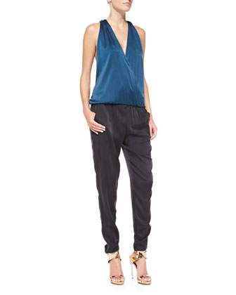 Jodi Colorblock Stretch-Satin Jumpsuit