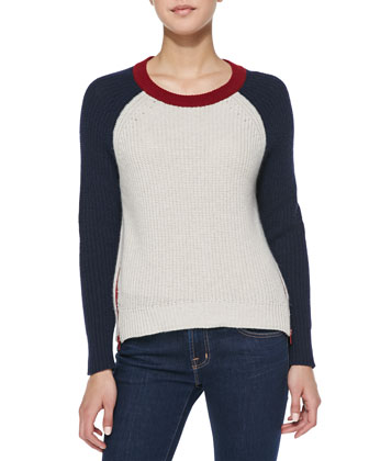 Colorblock Zip-Hem Shaker Cashmere Sweater