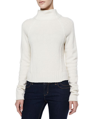 Boxy Funnel-Neck Cashmere Sweater