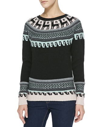 Folkloric Intarsia Cashmere Sweater