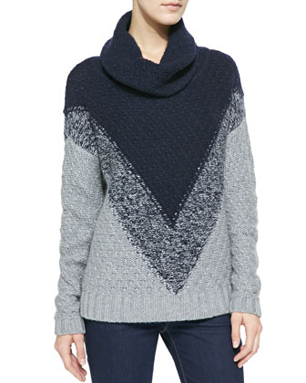 Chevron-Pattern Cowl-Neck Cashmere Sweater