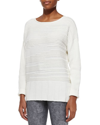 Dropped-Sleeve Abstract Cloud Sweater & Curvy Slim-Leg Denim Jeans