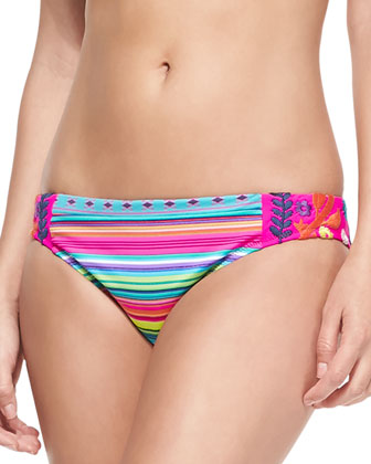 Flora Fiesta Mixed-Pattern Underwire Top & Striped Embroidered Swim Bottom