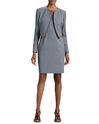 Mini-Houndstooth Sleeveless Dress & Jacket Set