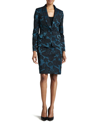 One-Button Jacquard Jacket & Skirt Suit Set