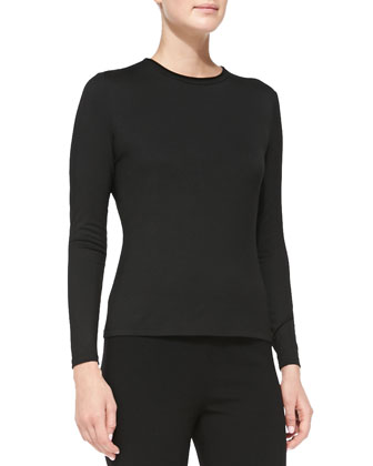 Cap-Sleeve Faux-Leather-Trim Tunic, Crewneck Long-Sleeve Top & Stretch-Wool ...
