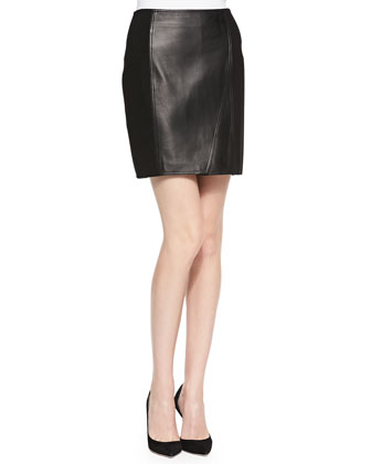 Drape-Front V-Neck Top & Lambskin Leather/Ponte Skirt