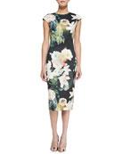Opulent Bloom Floral-Print Midi Dress