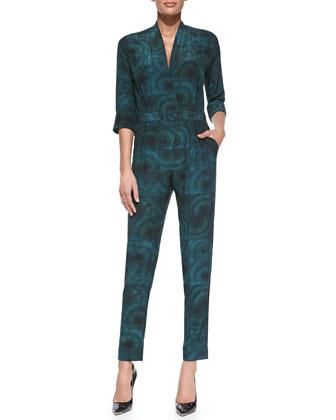 Ann Circle-Print Silk Jumpsuit