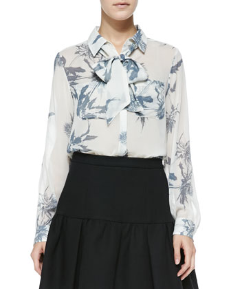 Thistle-Print Sheer Silk Blouse
