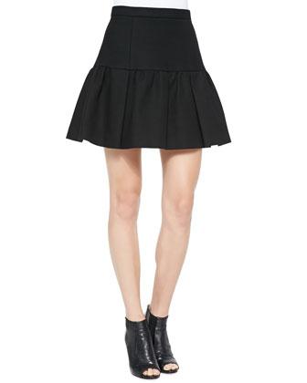 Mushroom Ruffle-Hem Short Skirt