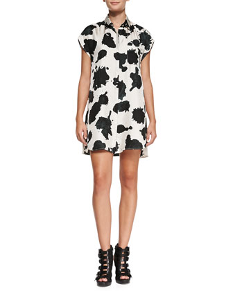 Cow-Print Swingy Silk Shirtdress