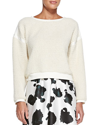 Cow-Print A-Line Skirt & Hari Patterned/Smooth Combo Sweater