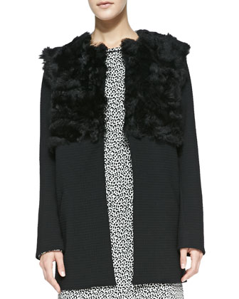Shearling/Leather/Quilted Coat & Leopard-Print Leather-Trim Dress