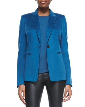 Stelly One-Button Blazer, Cashmere Sleeveless Slim Shell & Leather Zip-Cuff ...