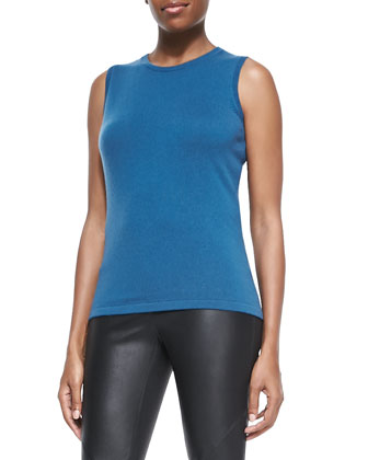 Cashmere Sleeveless Slim Shell, Peacock