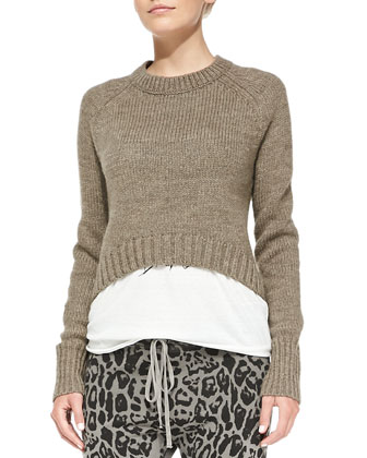 Elbow-Patch Cropped Sweater, Frankie Twisted-Sleeve Text Tee & Drop-Front ...