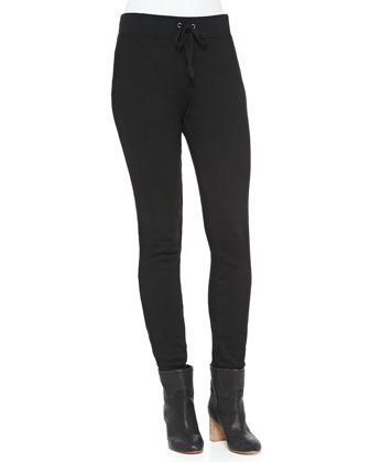 Betsee Pull-On Drawstring Skinny Pants, Black