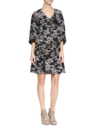 Fur-Trim Twill Parka Jacket & Dragonfly-Print Relaxed Silk Dress