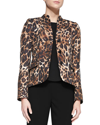 Andy Mandarin-Collar Leopard-Print Jacket/Maddie Silk Sleeveless Top & ...