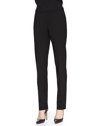 Melange Wool-Stretch Pants, Black