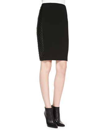Slim Skirt with Quilted Faux-Leather Sides